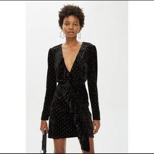 Topshop Black Velvet Long Sleeved Dress